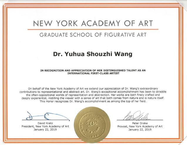 Certificate issued by the New York Academy of Art